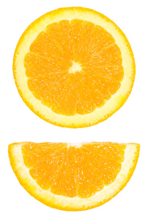 It is Pieces of circle and half sliced orange isolated on white. Foto de archivo