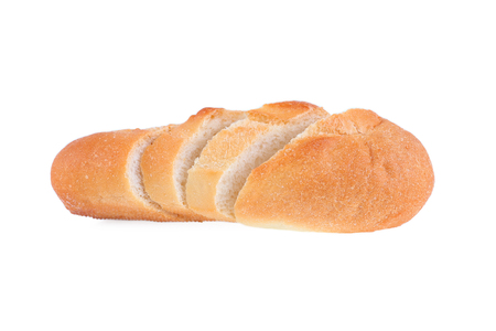 crusty french bread: It is Sliced french bread isolated on white.
