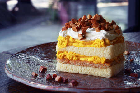 It is Pumpkin cake on plate for pattern. Stock Photo