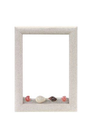 apple snail: It is Frame from sand isolated on white for decoration.