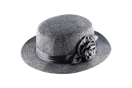 voile: It is Gray textile fibers hat for decoration isolated on white.