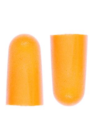 It is Foam ear plugs isolated on white. Imagens
