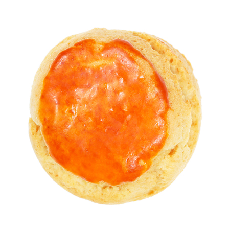 teacake: It is One plain scone for afternoon tea isolated on white.