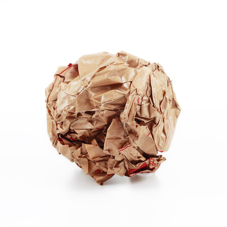 paperbag: It is Brown crumpled paper isolated on white.