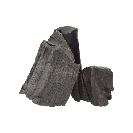 combust: It is Pile of charcoal isolated on white. Stock Photo