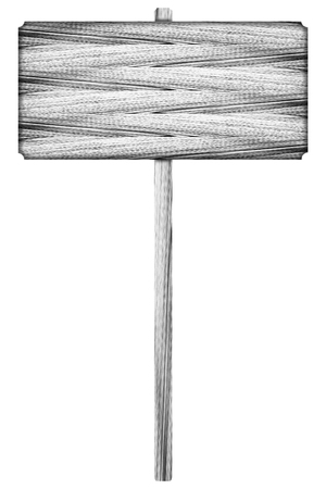 signal pole: It is Wooden sign isolated on white. Stock Photo