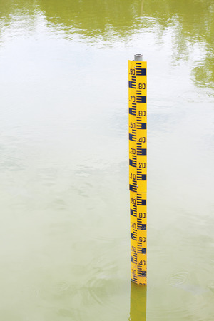 depth measurement: It is Water level indicator in water. Stock Photo