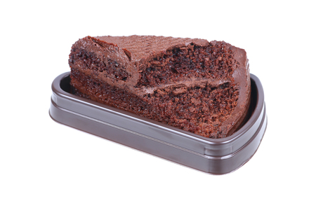 chocolate brownie: it is chocolate brownie with mold isolated on white.
