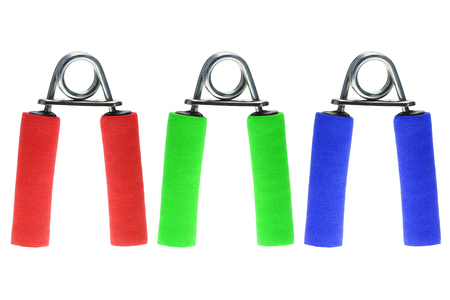 hand grip: it is hand grip exerciser isolated on white. Stock Photo
