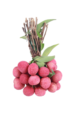 lychees: it is bunch of lychees isolated on white.