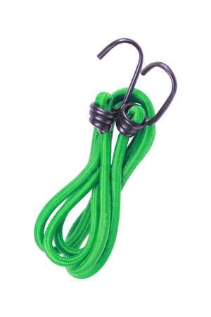 stretchy: it is stretched rope with hook isolated on white.