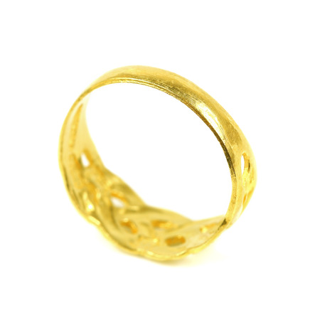 valued: it is one golden ring isolated on white. Stock Photo