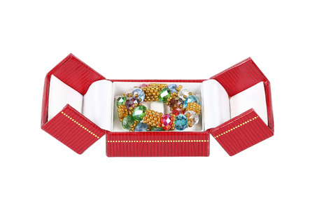 bride bangle: it is square jewelry box with jewelry isolated on white.