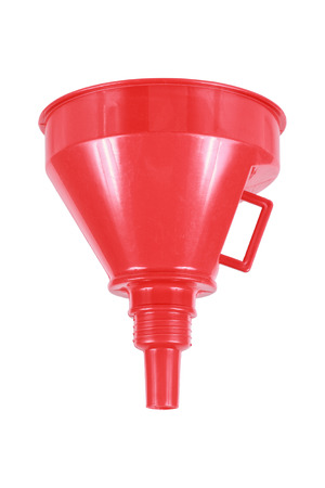 distill: it is red plastic liquid filter funnel isolated on white.