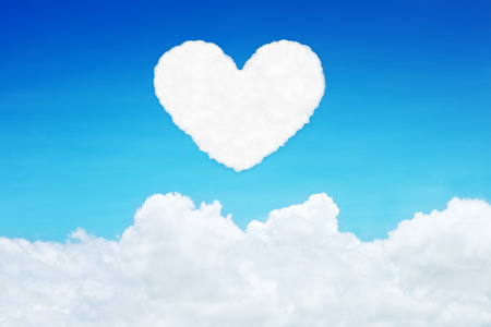 lonely heart: it is lonely heart shaped clouds on blue sky.