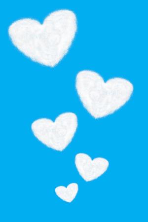 heart shaped: it is five heart shaped cloud float on blue sky.