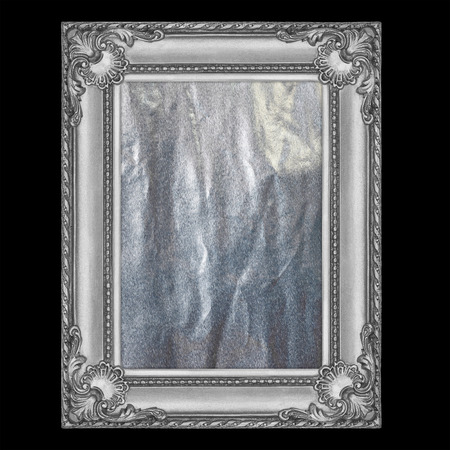 silver frame: it is silver frame isolated on black.