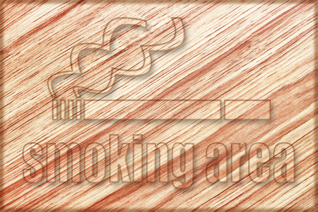cigaret: it is smoking area sign on wooden board. Stock Photo