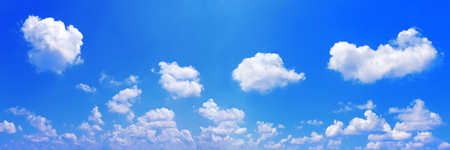 the firmament: it is panorama of white clouds on blue sky. Stock Photo
