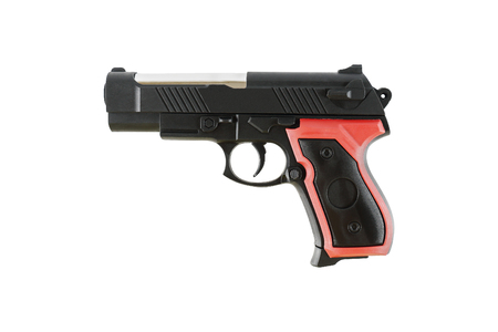 it is one plastic handgun toy isolated on white.