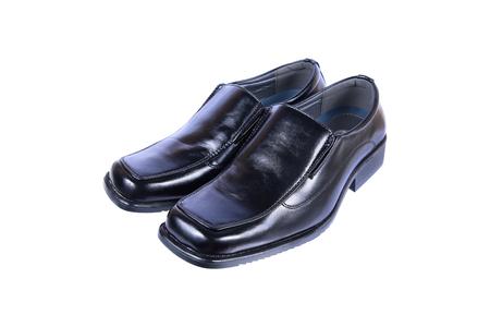 it is gentlemen luxury black leather shoes isolated on white. Stock Photo