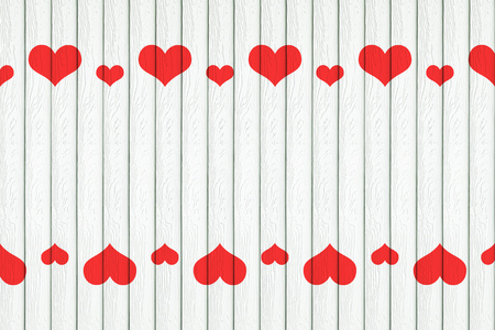 multiplicar: it is white wood background with red hearts decoration.