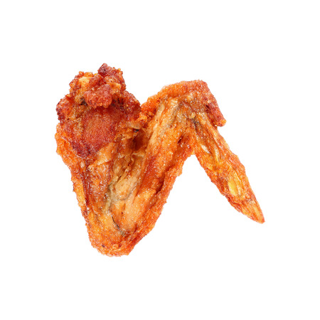 it is one deep fry chicken wing isolated on white. Stock Photo
