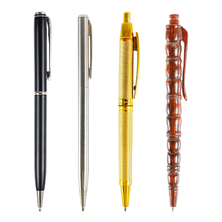 ball pens stationery: it is set of luxury business pens isolated on white. Foto de archivo