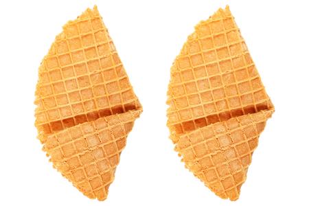 cornet: it is crispy waffle isolated on white.