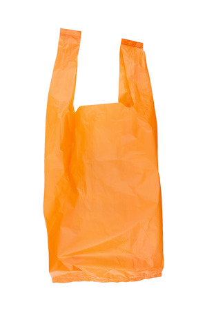 it is recycled orange plastic bag isolated on white.