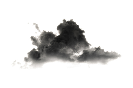 it is black smoke and cloud isolated on white. Imagens