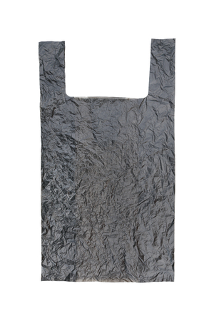 contain: it is one wrinkled black plastic bag isolated on white. Stock Photo