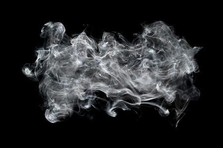 smoky black: it is white smoke isolated on black for background and design. Stock Photo
