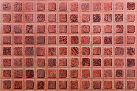 mosaic: it is dark orange ceramic tile texture for background and design. Stock Photo
