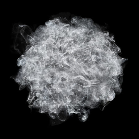 smoky black: it is white smoke ball isolated on black.