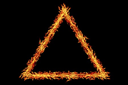 it is triangle fire frame isolated on black. Stock Photo