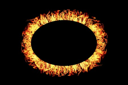 it is ellipse fire frame isolated on black.