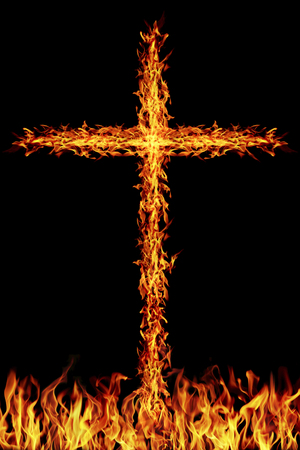 it is burning fire cross on fire.