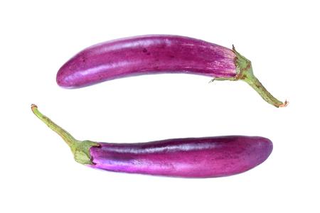 long purple eggplant isolated on white Stock Photo