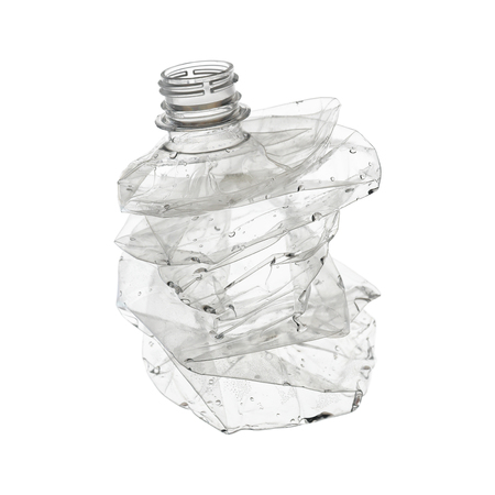 A crumpled clear plastic bottle isolated on white.
