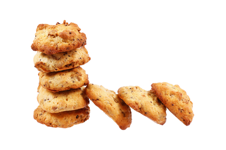 stack of cookies isolated on white.