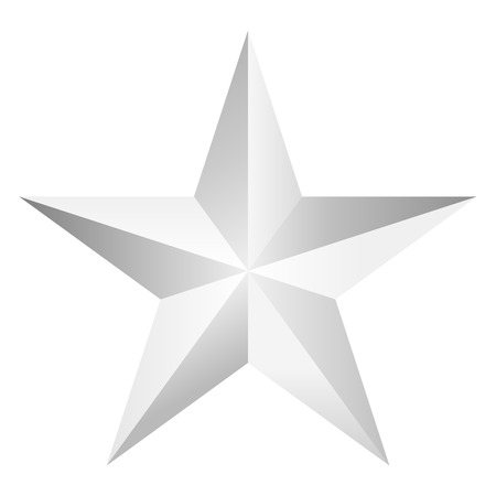 one beautiful decorative silver star isolated on white,vector illustration.