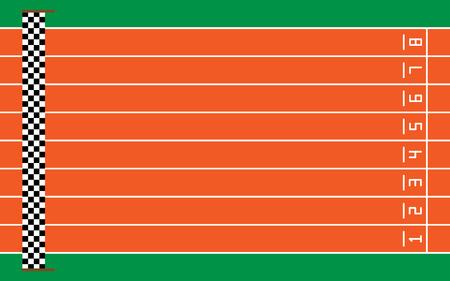 otto piste da corsa sul verde con obiettivo, illustrazione vettoriale. Vettoriali