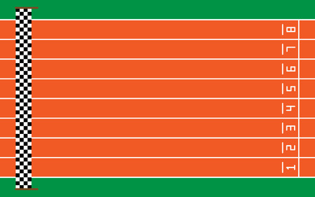 eight running tracks on green with goal,vector illustration.