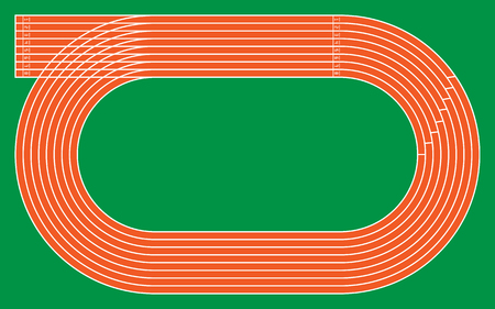 eight running tracks on green for pattern and design,vector illustration.