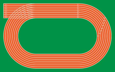ocho pistas de atletismo en verde para el patrón y el diseño, ilustración vectorial.