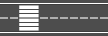 horizontal city road with two lanes and crosswalk for pattern and background,vector illustration.