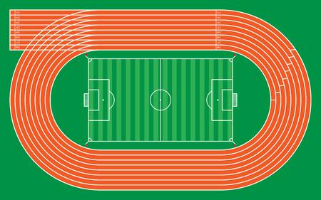 eight running tracks with football stadium for pattern and design,vector illustration. Vektorové ilustrace