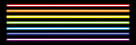 horizontal rainbow neon tube lights on black,vector illustration.