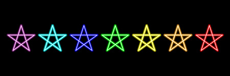 rainbow star neon lights on black,vector illustration. Çizim
